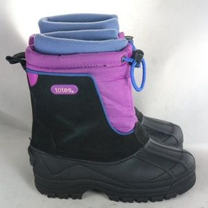 TOTES Jean Black Pink Girls Insulated Winter Boots